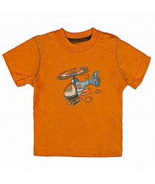 Oshkosh Orange Tee With Helicopter Applique