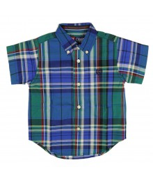 Chaps Blue/Grn Plaid Patterned Cotton Shirt