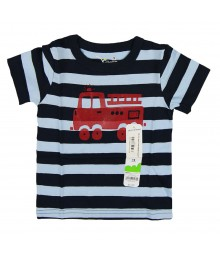 Jumping Beans Navy Stripe Fire Truck Tee