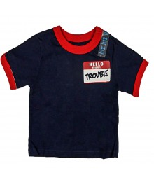 Childrens Place Boys My Name Is Trouble Graphic - Navy Tee