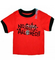 Childrens Place No Girls Allowed Ringerr Tee -Red