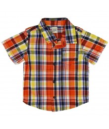 Old Navy Orange/Blue Plaid Shirt