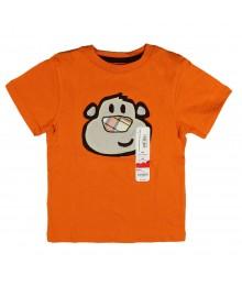 Jumping Beans Orange Monkey Applique Tee