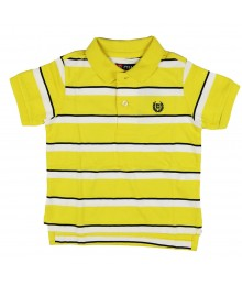 Chaps Bright Yellow/Black Stripped Knit Polo Shirt