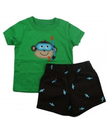 Carters 2pc Boys Green Monkey Tee Wt Brown Shorts