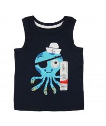 Jumping Beans Navy Blue Googling Eye Octopus Tee