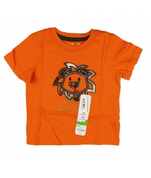Jumping Beans Orange Tee With Lion Head Appliq