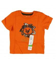 Jumping Beans Orange Tee With Lion Head Appliq
