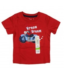 Jumping Beans Red Tee With Smiley Bike - Vroom Print