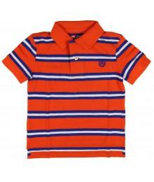 Chaps Blue/Orange Striped Pique Polo Shirt