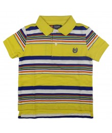 Chaps Active Yellow Multi Striped Polo Shirt