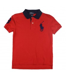 Polo Big Pony Red Shirt Wt Navy Collar