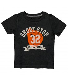 Carters Grey Tee Wt Short Stop Print Baby Boy