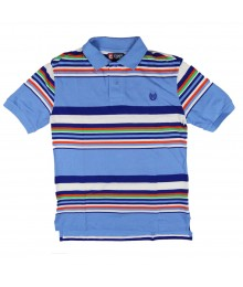 Chaps Blue Multi Striped Polo Shirt