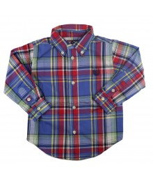 Chaps Long Sleeve Blue Multi Plaid Woven Shirt