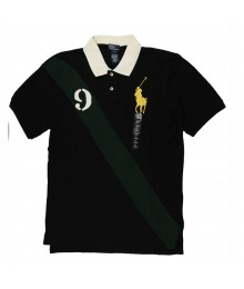 Polo Black Tee With Green Banner N Yellow Pony