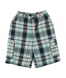 Sonoma Turq/Grey Plaid Cargo Shorts Little Boy