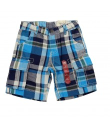Arizona Blue /Navy Plaid Cargo Shorts Little Boy