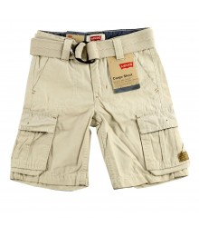 Levis Khaki Cargo Boys Belted Shorts