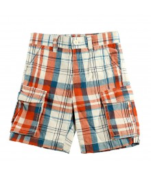 Crazy8 Orange&White  Plaid Cargo Shorts Little Boy