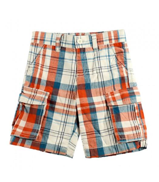 Crazy8 Orange&White  Plaid Cargo Shorts