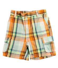 Cherokee Orange Plaid Boys Cargo Shorts