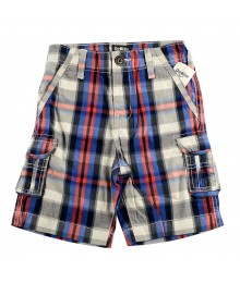 Oshkosh Red/Blue Plaid Cargo Shorts Little Boy
