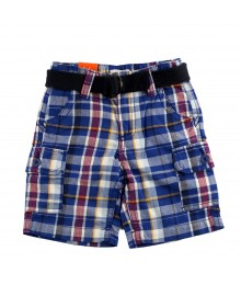 Joe Fresh Navy Multi Plaid Belted Cargo Boys Shorts
