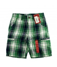 Arizona Green/Navy Plaid Cargo Shorts  Little Boy
