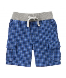 Gymboree Blue Checked Cargo Shots Wt Grey Waist