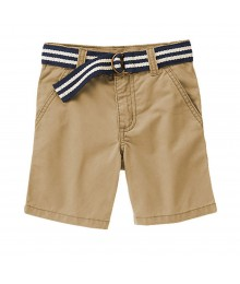 Gymboree Khaki Twill Shorts Wt Navy & Cream Belt Little Boy