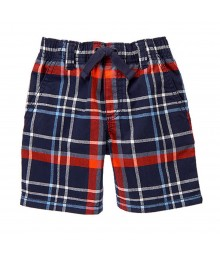 Gymboree Navy Plaid Pull-On Shorts