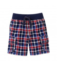 Gymboree Navy Plaid Cargo Shorts