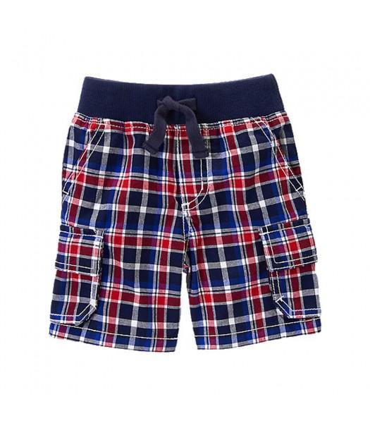 Gymboree Navy Plaid Cargo Shorts Little Boy