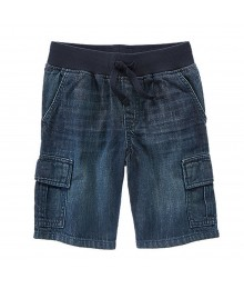 Gymboree Dark Rinse Denim Pull On Boys Cargo Shorts