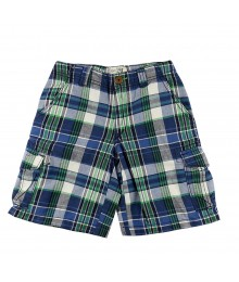 Childrens Place Navy/Green Plaid Cargo Shorts