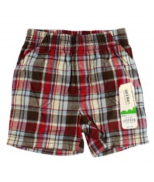 Jumping Beans Brown/Red Plaid Boys Shorts