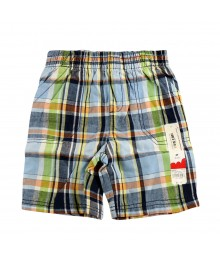 Jumping Beans Blue/Navy/Grn/Orange Plaid Boys Shorts