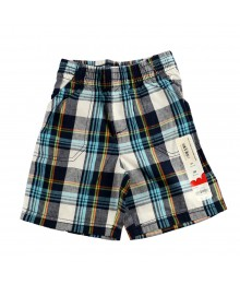 Jumping Beans Navy/Grn/Orange Plaid Boys Shorts
