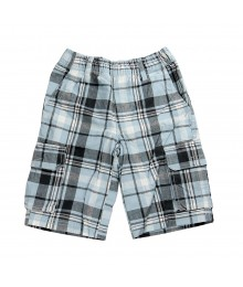 Crazy 8 Plaid Canvas Cargo Short - Cloud Blue