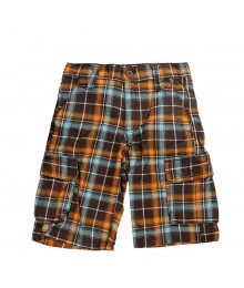 Crazy 8 Plaid Canvas Cargo Short - Brown/Orange