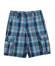 Crazy 8 Soft Navy  Plaid Cargo Shorts Little Boy