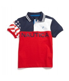 NAUTICA BLUE/WHITE/RED COLOR BLOCK BOYS POLO WT USA FLAG ON SLEEV N BLUE NAUTICA PRINT