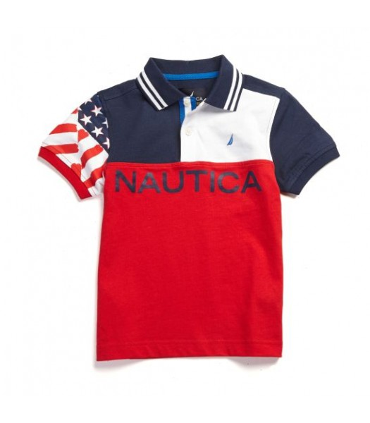 NAUTICA BLUE/WHITE/RED COLOR BLOCK BOYS POLO WT USA FLAG ON SLEEV N BLUE NAUTICA PRINT Little Boy