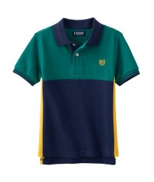 Chaps Green Colorblock Polo Little Boy