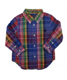 Chaps Blue Multi Plaid Long Sleeve Shirt
