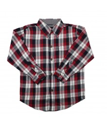 Nautica Red/Black Plaid Long Sleeve Shirt