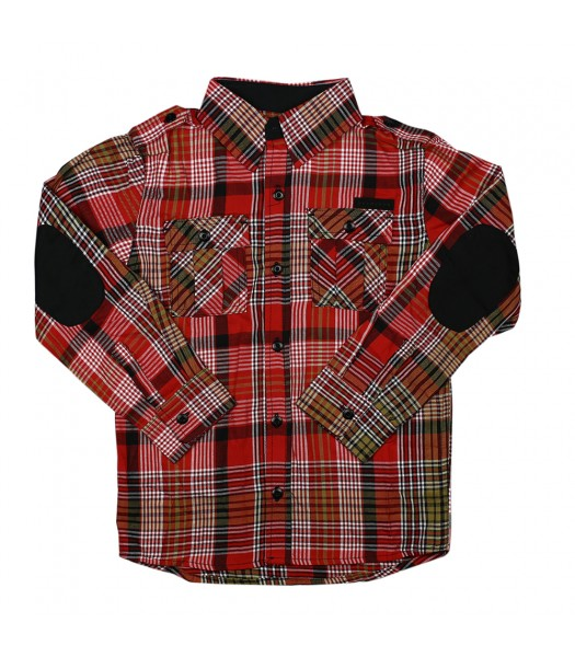 Sean John Red/White/Black Plaid Boys Shirt