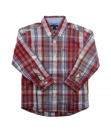 Tommy Red/White Plaid Boys Shirt