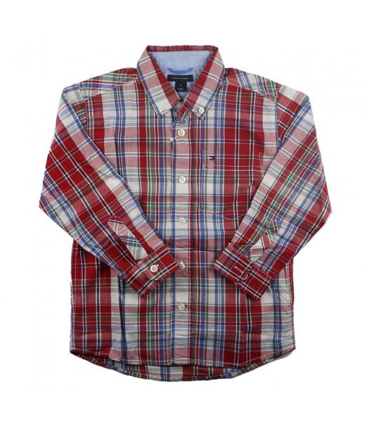 Tommy Red/White Plaid Boys Shirt